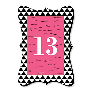 Chic 13th Birthday - Pink, Black and Gold - Unique Alternative Guest Book - 13th Birthday Party Signature Mat Gift