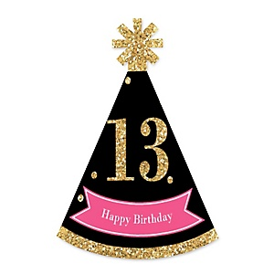 Chic 13th Birthday - Pink, Black and Gold - Personalized Mini Cone Birthday Party Hats - Small Little Party Hats - Set of 10