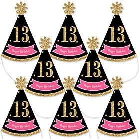 Chic 13th Birthday - Pink, Black and Gold - Mini Cone Birthday Party Hats - Small Little Party Hats - Set of 8