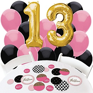 Chic 13th Birthday - Pink, Black and Gold - Confetti and Balloon Birthday Party Decorations - Combo Kit