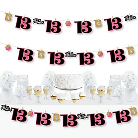 Chic 13th Birthday - Pink, Black and Gold - Birthday Party DIY Decorations - Clothespin Garland Banner - 44 Pieces