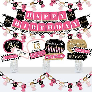 Chic 13th Birthday - Pink, Black and Gold - Banner and Photo Booth Decorations - Birthday Party Supplies Kit - Doterrific Bundle