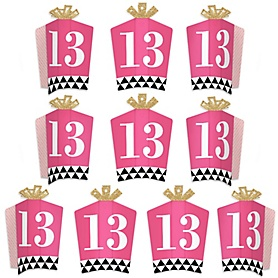 Chic 13th Birthday - Pink, Black and Gold - Table Decorations - Birthday Party Fold and Flare Centerpieces - 10 Count