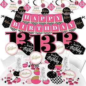 Chic 13th Birthday - Pink, Black and Gold - Birthday Party Supplies - Banner Decoration Kit - Fundle Bundle