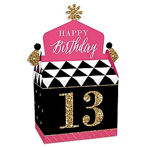 Chic 13th Birthday - Pink, Black and Gold - Treat Box Party Favors - Birthday Party Goodie Gable Boxes - Set of 12
