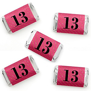 Chic 13th Birthday - Pink, Black and Gold - Mini Candy Bar Wrapper Stickers - Birthday Party Small Favors - 40 Count