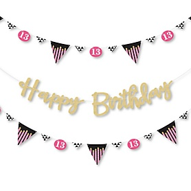 Chic 13th Birthday - Pink, Black and Gold - Birthday Party Letter Banner Decoration - 36 Banner Cutouts and No-Mess Real Gold Glitter Happy Birthday Banner Letters