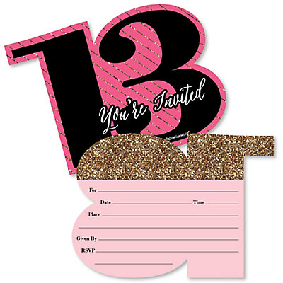 Chic 13th birthday pink black and gold shaped fill in chic 13th birthday pink black and gold shaped fill in invitations birthday party invitation cards with envelopes set of 12 stopboris Gallery