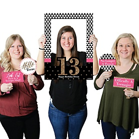 Chic 13th Birthday - Pink, Black and Gold - Personalized Birthday Party Selfie Photo Booth Picture Frame & Props - Printed on Sturdy Material
