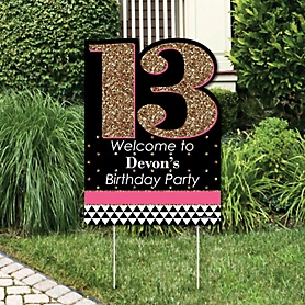 Chic 13th Birthday - Pink, Black and Gold - Party Decorations - Birthday Party Personalized Welcome Yard Sign
