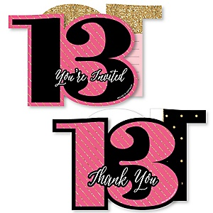 Chic 13th Birthday - Pink, Black and Gold - 20 Shaped Fill-In Invitations and 20 Shaped Thank You Cards Kit - Birthday Party Stationery Kit - 40 Pack