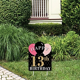 Chic 13th Birthday - Pink, Black and Gold - Outdoor Lawn Sign - Birthday Party Yard Sign - 1 Piece