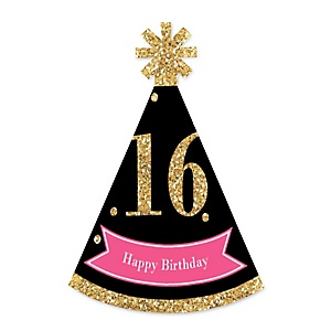 Chic 16th Birthday - Pink, Black and Gold - Personalized Mini Cone Birthday Party Hats - Small Little Party Hats - Set of 10