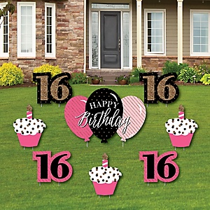 Chic 16th Birthday - Pink, Black and Gold - Yard Sign & Outdoor Lawn Decorations - Birthday Party Yard Signs - Set of 8