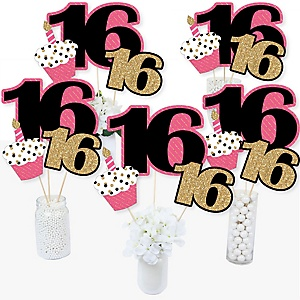 Chic 16th Birthday - Pink, Black and Gold - Birthday Party Centerpiece Sticks - Table Toppers - Set of 15