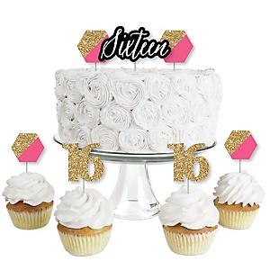 Chic 16th Birthday - Pink, Black and Gold - Dessert Cupcake Toppers - Birthday Party Clear Treat Picks - Set of 24