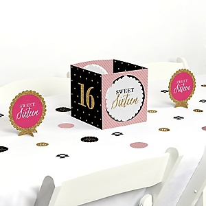 Chic 16th Birthday - Pink, Black and Gold - Birthday Party Centerpiece and Table Decoration Kit