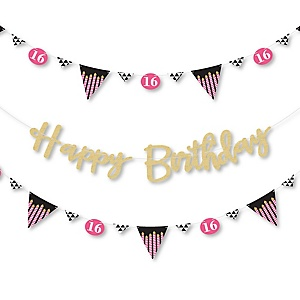 Chic 16th Birthday - Pink, Black and Gold - Birthday Party Letter Banner Decoration - 36 Banner Cutouts and No-Mess Real Gold Glitter Happy Birthday Banner Letters