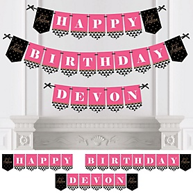 Chic 16th Birthday - Pink, Black and Gold - Personalized Birthday Party Bunting Banner & Decorations