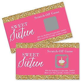 Chic 16th Birthday - Pink and Gold - Birthday Party Game Scratch Off Cards - 22 ct