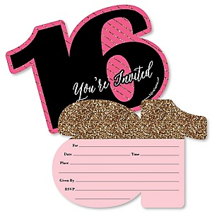 Chic 16th Birthday - Pink, Black and Gold - Shaped Fill-In Invitations - Birthday Party Invitation Cards with Envelopes - Set of 12