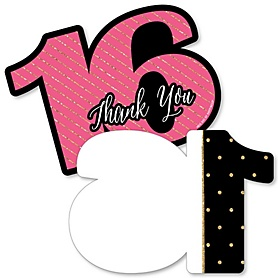 Chic 16th Birthday - Pink, Black and Gold - Shaped Thank You Cards - Birthday Party Thank You Note Cards with Envelopes - Set of 12