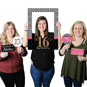 Chic 16th Birthday - Pink, Black and Gold - Personalized Birthday Party Selfie Photo Booth Picture Frame & Props - Printed on Sturdy Material