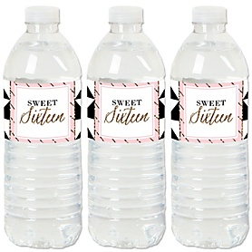 Chic Pink, Black and Gold - 16th Birthday - Birthday Party Water Bottle Sticker Labels - Set of 20