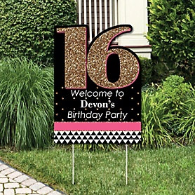 Chic 16th Birthday - Pink, Black and Gold - Party Decorations - Birthday Party Personalized Welcome Yard Sign