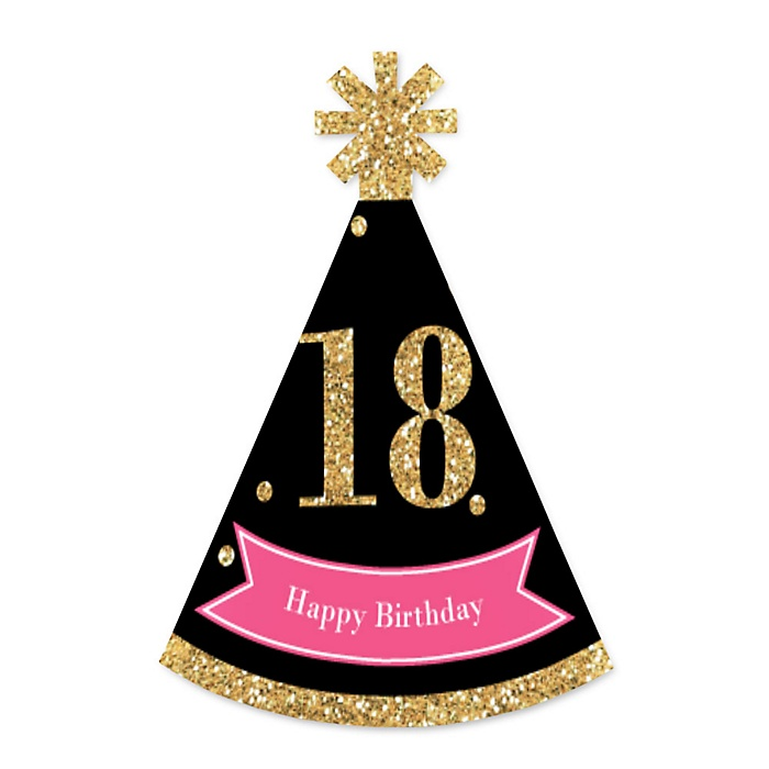 Chic 18th Birthday - Pink, Black and Gold - Personalized Mini Cone Birthday Party Hats - Small Little Party Hats - Set of 10