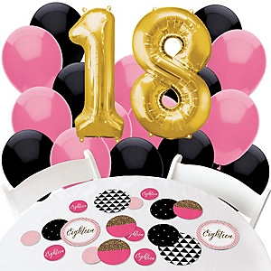 Chic 18th Birthday - Pink, Black and Gold - Confetti and Balloon Birthday Party Decorations - Combo Kit