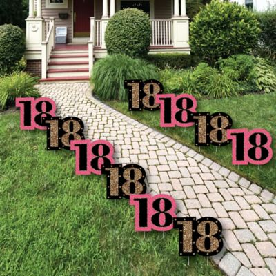 Chic 18th Birthday - Pink Black and Gold Lawn Decorations - Outdoor Birthday Party Yard Decorations - 10 Piece & Chic Pink Black and Gold - 18th Birthday - Birthday Party Theme ...