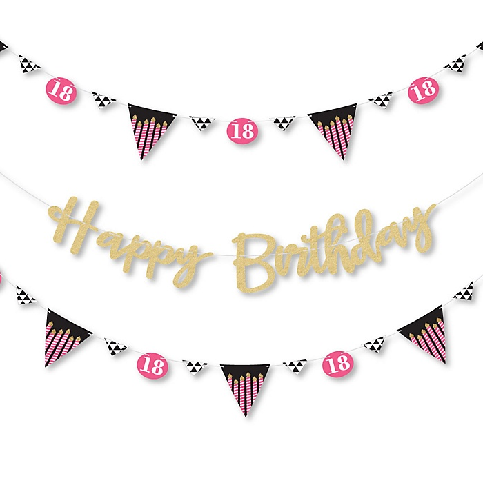 Chic 18th Birthday - Pink, Black and Gold - Birthday Party Letter Banner Decoration - 36 Banner Cutouts and No-Mess Real Gold Glitter Happy Birthday Banner Letters