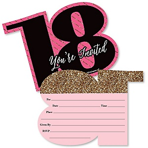 Chic 18th Birthday - Pink, Black and Gold - Shaped Fill-In Invitations - Birthday Party Invitation Cards with Envelopes - Set of 12