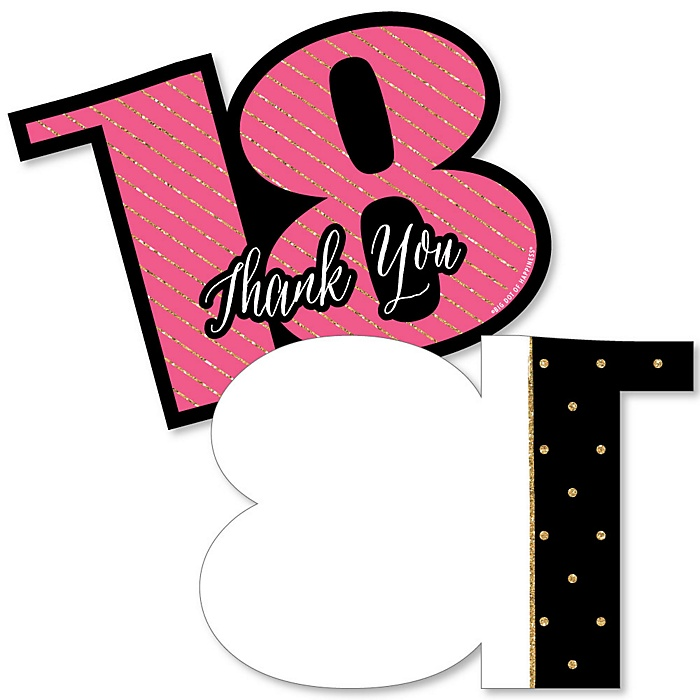 Chic 18th Birthday - Pink, Black and Gold - Shaped Thank You Cards - Birthday Party Thank You Note Cards with Envelopes - Set of 12