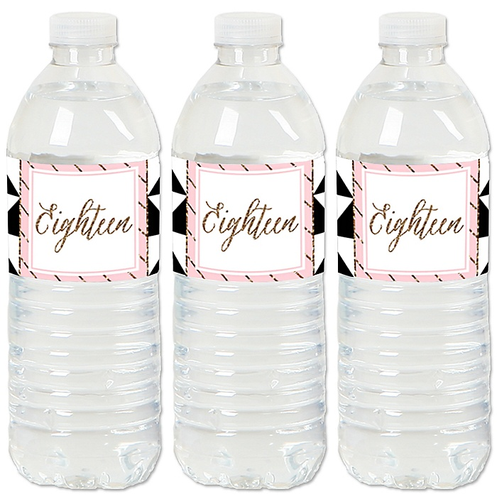 Chic Pink, Black and Gold - 18th Birthday - Birthday Party Water Bottle Sticker Labels - Set of 20