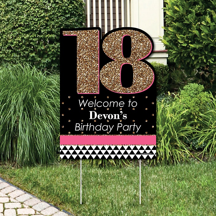 Chic 18th Birthday - Pink, Black and Gold - Party Decorations - Birthday Party Personalized Welcome Yard Sign