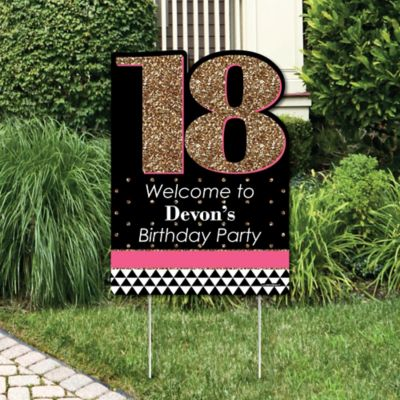 Chic 18th Birthday - Pink Black and Gold - Party Decorations - Birthday Party Personalized Welcome Yard Sign & Chic Pink Black and Gold - 18th Birthday - Birthday Party Theme ...