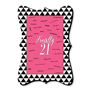 Finally 21 Girl - Unique Alternative Guest Book - 21st Birthday Party Signature Mat Gift