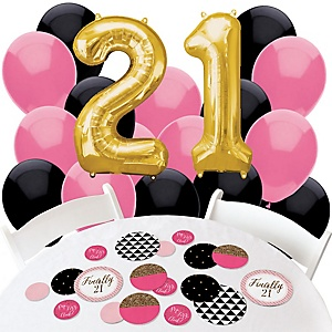 Finally 21 Girl - Confetti and Balloon 21st Birthday Party Decorations - Combo Kit