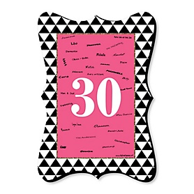 Chic 30th Birthday - Pink, Black and Gold - Unique Alternative Guest Book - 30th Birthday Party Signature Mat Gift