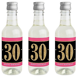 Chic 30th Birthday - Pink, Black and Gold - Mini Wine and Champagne Bottle Label Stickers - Birthday Party Favor Gift - For Women and Men - Set of 16