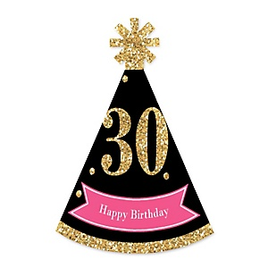 Chic 30th Birthday - Pink, Black and Gold - Personalized Mini Cone Birthday Party Hats - Small Little Party Hats - Set of 10