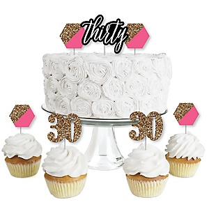 Chic 30th Birthday - Pink, Black and Gold - Dessert Cupcake Toppers - Birthday Party Clear Treat Picks - Set of 24