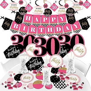 Chic 30th Birthday - Pink, Black and Gold - Birthday Party Supplies - Banner Decoration Kit - Fundle Bundle