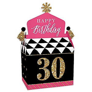 Chic 30th Birthday - Pink, Black and Gold - Treat Box Party Favors - Birthday Party Goodie Gable Boxes - Set of 12