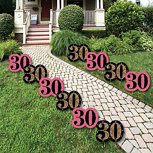 Chic 30th Birthday - Pink, Black and Gold Lawn Decorations - Outdoor Birthday Party Yard Decorations - 10 Piece