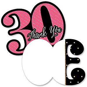 Chic 30th Birthday - Pink, Black and Gold - Shaped Thank You Cards - Birthday Party Thank You Note Cards with Envelopes - Set of 12