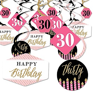 Chic 30th Birthday - Pink, Black and Gold - Birthday Party Hanging Decor - Party Decoration Swirls - Set of 40