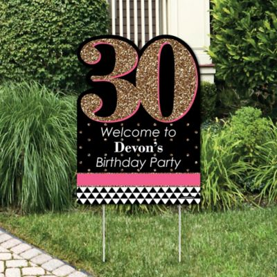 Chic Pink Black and Gold 30th Birthday Birthday Party Theme